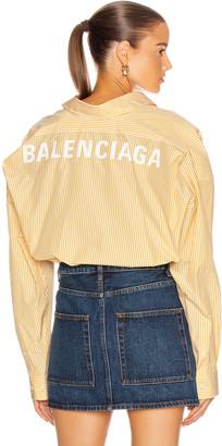 Balenciaga Long Sleeve Swing Shirt in Yellow & White   FWRD