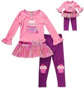 Dollie & Me Pink & Purple Cupcake Pants Set & Doll Outfit - Girls