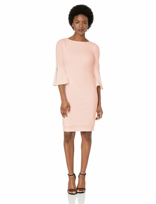 Calvin Klein Women's Solid Sheath with Detailed Bell Sleeve Dress