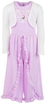 Beautees Big Girls 3-Pc. Shrug, Ruffled Jumpsuit & Necklace Set