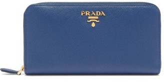 Prada Logo-plaque Zip-around Saffiano-leather Wallet - Navy