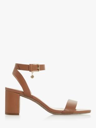 Dune Memee Wide Fit Leather Mid Block Heel Sandals, Tan