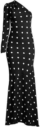 Rebecca Vallance Penelope Polka Dot One Shoulder Gown