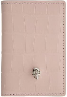 Alexander McQueen Pink Croc Skull Pocket Organizer