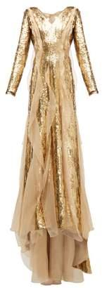 Carolina Herrera Sequinned Silk-organza Gown - Womens - Gold