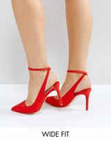 Faith Wide Fit Canyon Red Heeled Shoes