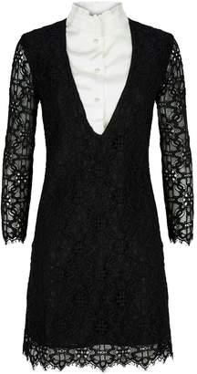 Sandro Lace Ruffle-Trim Shirt Dress