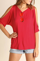 Umgee USA Red Cutout Sleeve Top