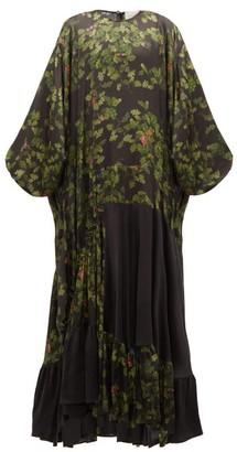 Preen by Thornton Bregazzi Harper Leaf-print Satin Maxi Dress - Black Multi