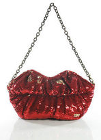 Sonia Rykiel Red Gold Sequin Small Lips Chain Strap Clutch handbag