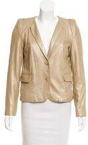 Sandro Leather Button-Up Blazer