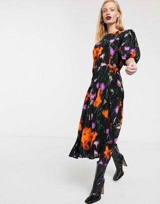 Asos floral puff sleeve tea dress