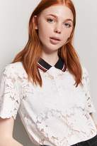 Forever 21 Lace Contrast Collar Shirt