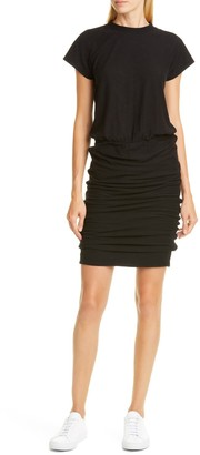 James Perse Mock Neck Blouson Midi Dress