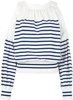 Sacai striped cold shoulder jumper - women - Cotton/Cashmere/polyester - 2