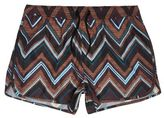 River Island MensBlack zig zag print runner swim trunks