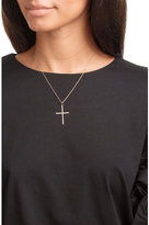 Ileana Makri 18K Pink Gold Classic Cross Necklace with White Diamonds