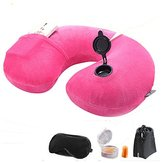 Lucear Inflatable Travel Pillow Set- Velvet Travel Neck Pillow, Sleep Mask, Earplugs - Including Carry Pouch for Convenient Storage - 3 Seconds Inflate Full (Pink)