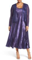Komarov Sleeveless Charmeuse Dress with Lace & Chiffon Jacket (Plus Size)