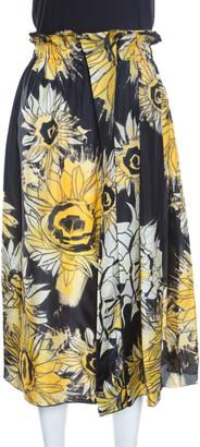 N°21 N21 Black and Yellow Sunflower Printed Silk Asymmetric Pleat Detail Midi Skirt M