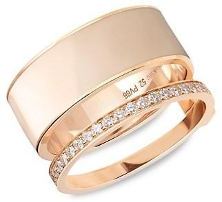 Repossi Berbere Chromatic 18K Rose Gold & Pave Diamond 2-Row Ring