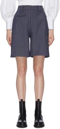 Ganni Pinstripe High Rise Shorts