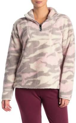 Bebe Logo Quarter Zip Camo Print Faux Fur Pullover