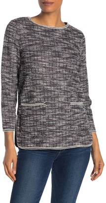 Max Studio Tweed Double Pocket Long Sleeve Pullover Sweater