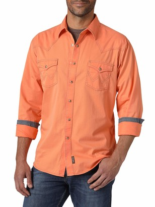 Wrangler Mens Retro Two Pocket Long Sleeve Snap Button Down Shirt
