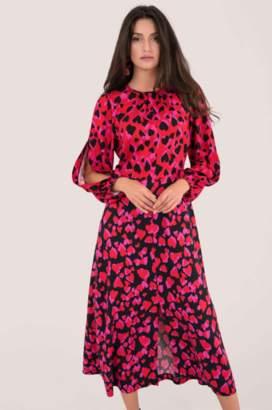 Closet London Red Heart Print Puff Sleeve Dress - 8 | viscose | pink - Pink/Pink