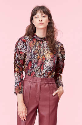 Rebecca Taylor Watercolor Snake Hammered Silk Top