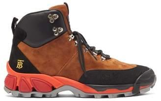 Burberry Monogram-logo Suede Hiking Boots - Mens - Black Multi