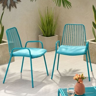 Ebern Designs Esentepe Outdoor Modern Club Patio Chair with Cushions Frame Color / Cushion Color: Matte Teal Frame / Teal Cushion