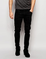 Asos Selvedge Super Skinny Jeans With Biker Details In 13oz Black