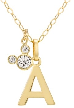 "Disney Mickey Mouse Initial Pendant 18"" Necklace with Cubic Zirconia in 14k Yellow Gold"