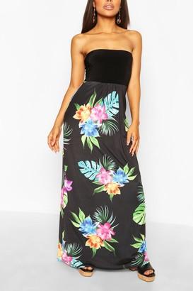boohoo Petite Bandeau Floral Maxi Dress