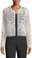 Tahari ASL Diane Crochet Lace Zip-Front Jacket