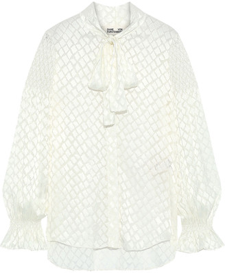 Diane von Furstenberg Caroline Tie-neck Shirred Burnout Satin Blouse