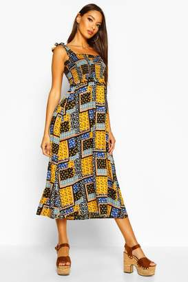 boohoo Woven Patch Work Print Shirred Sundress