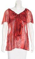 Rachel Zoe Linen-Blend Printed Blouse