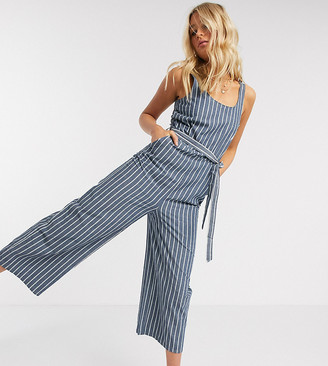 Vero Moda Tall culotte jumpsuit with tie waist in blue stripe