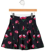 Oscar de la Renta Girls' Floral Print Pleated Skirt
