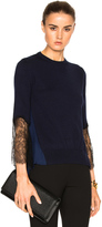 Oscar de la Renta Lace Sleeve Asymmetric Sweater