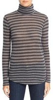 Majestic Filatures Cotton & Cashmere Stripe Turtleneck Top