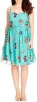 City Chic Plus Size Women's 'Fresh Floral' Chiffon Fit & Flare Dress