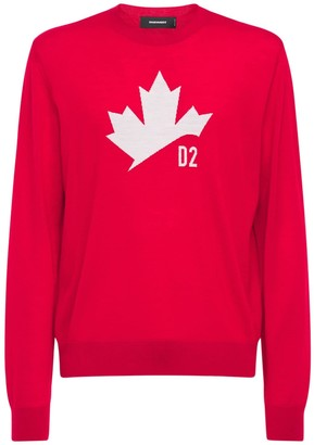 DSQUARED2 Maple Leaf Jacquard Wool Knit Sweater