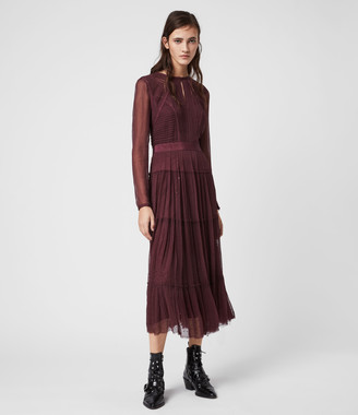 AllSaints Rochi Embellished Long Sleeve Dress