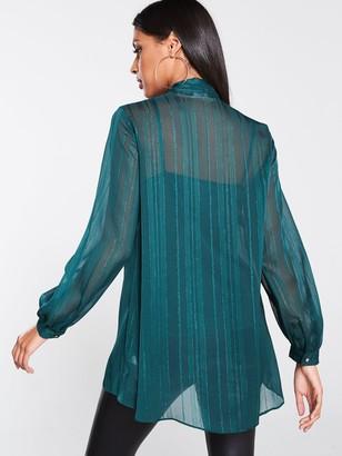 Wallis Lurex Tie Top - Green