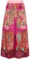 Valentino Pleated Printed Silk Crepe De Chine Midi Skirt - Pink
