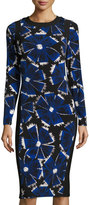 Maggy London Woodblock Flower Midi Dress, Black/Blue
